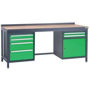 NABBI PSS03D/L6L2 pracovný stôl grafit / zelená