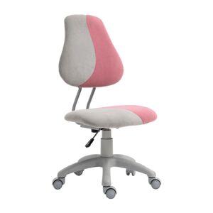 KONDELA Raidon detská stolička na kolieskach sivá / ružová