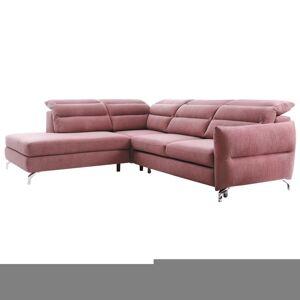 TEMPO KONDELA Greg L rohová sedačka s rozkladom a úložným priestorom ružovofialová