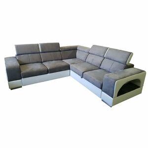 TEMPO KONDELA Kamelia L/P rohová sedačka s rozkladom a úložným priestorom hnedá / biela