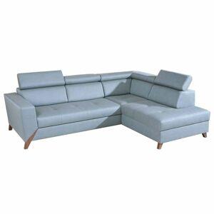 TEMPO KONDELA Konkord P rohová sedačka s rozkladom a úložným priestorom mentolová / orech