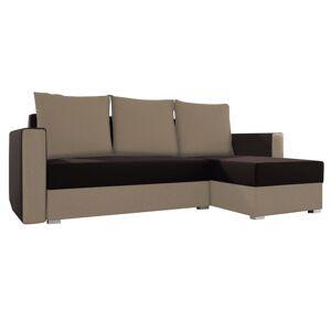 TEMPO KONDELA Marea 2 L/P rohová sedačka s rozkladom a úložným priestorom hnedá / béžová