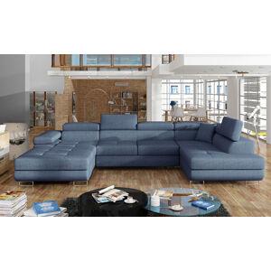 NABBI Rossano U P rohová sedačka u s rozkladom modrá (Solid 77)