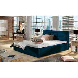 NABBI Rovigo 180 čalúnená manželská posteľ s roštom tmavomodrá