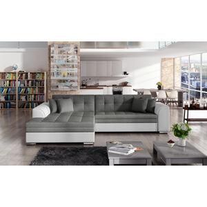 NABBI Salerno L rohová sedačka s rozkladom sivá (Sawana 05) / biela (Soft 17)