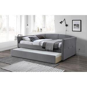 HALMAR Sanna 90 čalúnená jednolôžková posteľ (váľanda) s prístelkou sivá