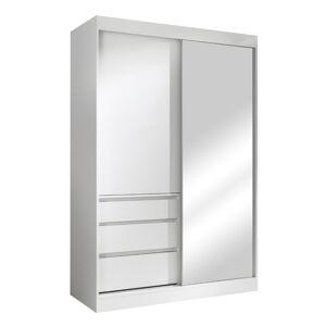 TEMPO KONDELA Romualda 140 šatníková skriňa s posuvnými dverami a zrkadlom biela