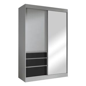 TEMPO KONDELA Romualda 140 šatníková skriňa s posuvnými dverami a zrkadlom sivá / čierna