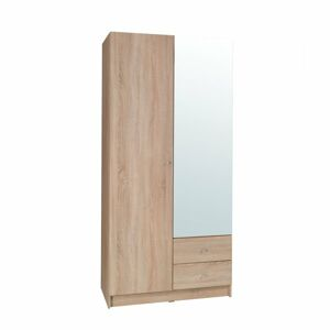 TEMPO KONDELA Mexim 2D šatníková skriňa so zrkadlom dub sonoma