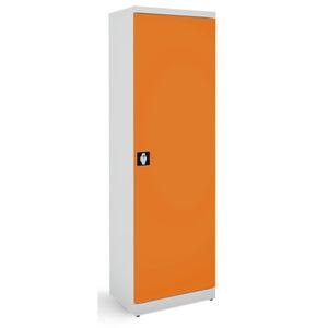 NABBI SB600 kovová kancelárska skriňa s nastaviteľnými policami svetlosivá / oranžová