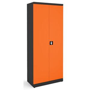 NABBI SB 800 kovová kancelárska skriňa s dvojkrídlovými dverami grafit / oranžová