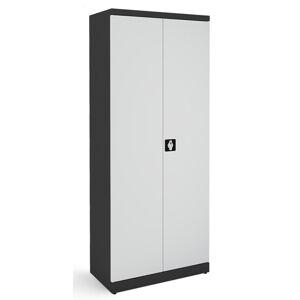 NABBI SB 800 kovová kancelárska skriňa s dvojkrídlovými dverami grafit / svetlosivá