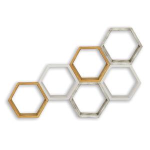 SIGNAL Apis poličky (6 ks) biely vosk / čierny vosk / medovo hnedá