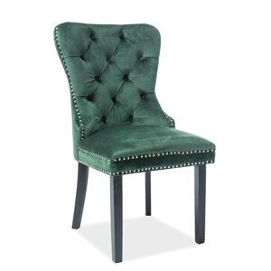 SIGNAL August Velvet jedálenská stolička zelená / čierna