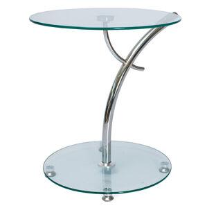 SIGNAL Muna sklenený konferenčný stolík priehľadná / chrómová