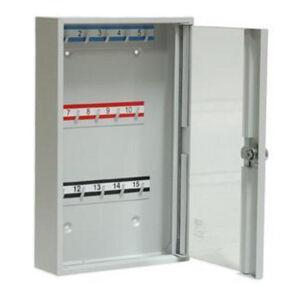 NABBI SK15/S kovová skrinka na kľúče s presklenými dverami svetlosivá