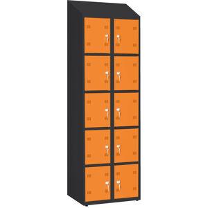 NABBI SK300-010 DASZEK boxová šatňová skriňa so šikmou strechou grafit / oranžová