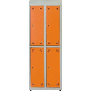 NABBI SKS 300 04 školská šatňová skrinka s vetracími otvormi svetlosivá / oranžová