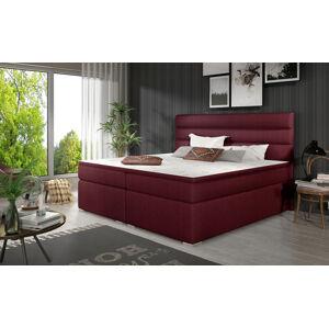 NABBI Spezia 140 čalúnená manželská posteľ s úložným priestorom vínová