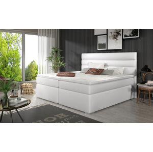 NABBI Spezia 180 čalúnená manželská posteľ s úložným priestorom biela