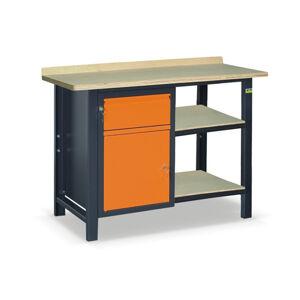 NABBI SS01L/B/2PL45 pracovný stôl s dvoma policami grafit / oranžová