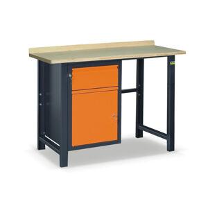 NABBI SS01L/B pracovný stôl grafit / oranžová