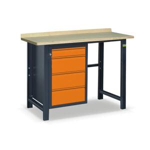 NABBI SS01L/F pracovný stôl grafit / oranžová