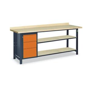 NABBI SS03L/D/2PL135 pracovný stôl s dvoma policami grafit / oranžová