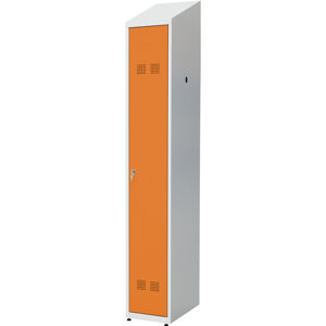 NABBI SUPE 300-01 DASZEK kovová šatňová skriňa so šikmou strechou svetlosivá / oranžová