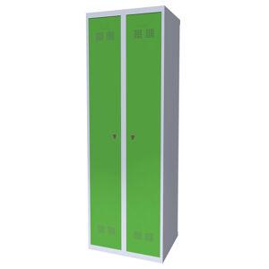 NABBI SUPE 300-02 kovová šatňová skriňa svetlosivá / zelená