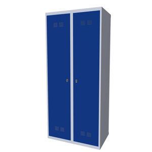 NABBI SUPE 400-02 7035/5005 kovová šatňová skriňa svetlosivá / modrá