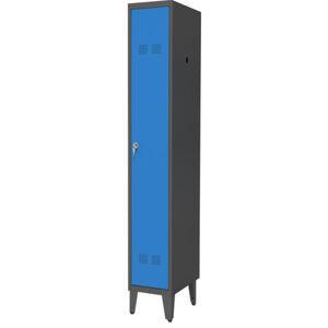NABBI SUPE300-01/480 NOZKI kovová šatňová skriňa na nožičkách grafit / modrá