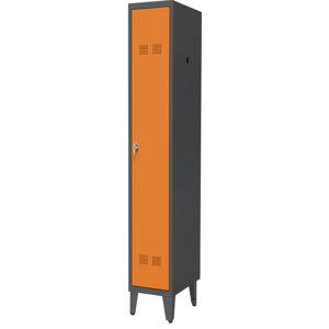 NABBI SUPE300-01/480 NOZKI kovová šatňová skriňa na nožičkách grafit / oranžová