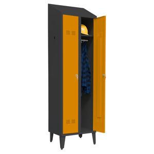 NABBI SUPE300-02/480 D/N šatňová skriňa na nožičkách grafit / oranžová