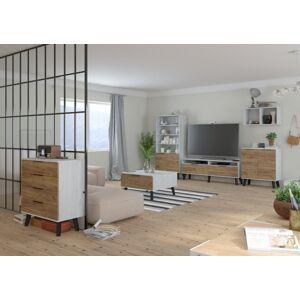 MEBLOCROSS Sven obývacia izba craft biely / craft zlatý