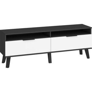 MEBLOCROSS Sven SVN-11 tv stolík čierna / biely lesk
