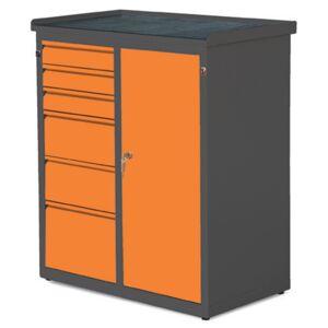NABBI SW01G/W1 37 dielenská skrinka s dvierkami a zásuvkami grafit / oranžová