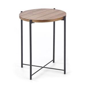HALMAR Tanaka S okrúhly príručný stolík orech / čierna