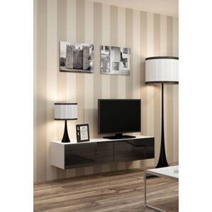 CAMA MEBLE Vigo 140 tv stolík na stenu biela / čierny lesk