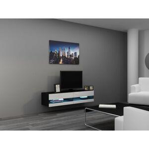 CAMA MEBLE Vigo New 140 tv stolík na stenu čierna / biely lesk