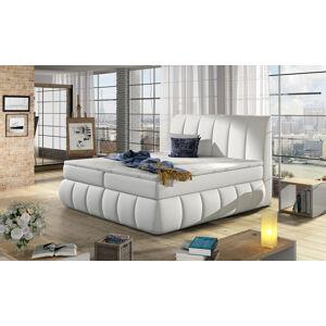 NABBI Vareso 140 čalúnená manželská posteľ s úložným priestorom biela
