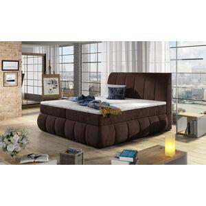 NABBI Vareso 140 čalúnená manželská posteľ s úložným priestorom tmavohnedá (Kronos 06)