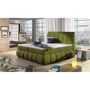 NABBI Vareso 140 čalúnená manželská posteľ s úložným priestorom zelená