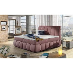NABBI Vareso 160 čalúnená manželská posteľ s úložným priestorom tmavoružová