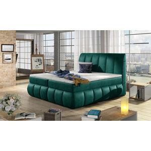 NABBI Vareso 160 čalúnená manželská posteľ s úložným priestorom tmavozelená