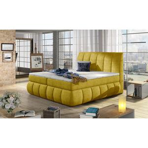 NABBI Vareso 180 čalúnená manželská posteľ s úložným priestorom žltá