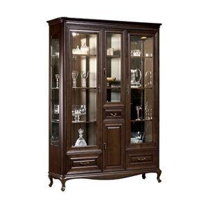 TARANKO Verona V-W3 rustikálna vitrína s osvetlením hnedá