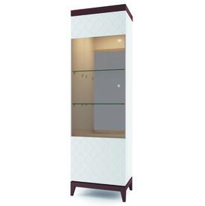 TARANKO Via VI-W1/2 L vitrína biely mat / mahagón vysoký lesk