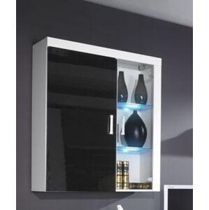 CAMA MEBLE Samba REG4 vitrína na stenu biela / čierny lesk