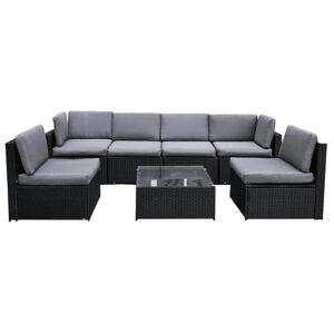 TEMPO KONDELA Modesto záhradný nábytok z umelého ratanu čierna / sivá